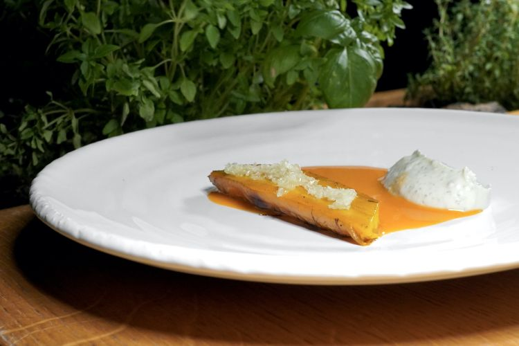 Carrot and goat: it's a glazed carrot with a miso of chargrilled carrot, finger lime, curdled goat's milk, lactofermented carrot juice. Great sour-savoury elegance