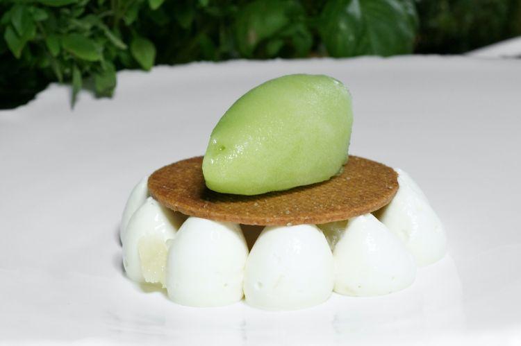 Prickly pear, lemon and salt. The desserts are perfectly coherent too (lemon namelaka, lemon and salt, prickly pear leaf sorbet)