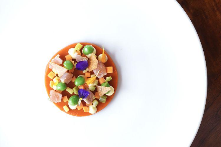 """Ritorno al futuro: """"insalata russa"""", gel di peperoni, verdure fermentate e non, tataki di tonno. Un'interpretazione davvero convincente di un classico piemontese"""