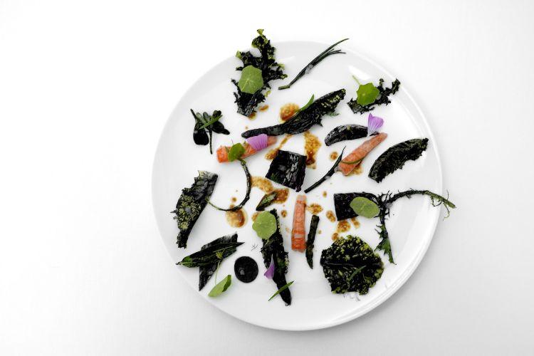 Insalata nera, gambero rosso di Mazara del Vallo. L'insalata (lattuga, coste, ravanelli, asparagi, agretti, cicoria rossa, portulaca...) viene condita con una salsa alle alghe e sesamo nero e con un dashi con anacardi, poi olio,salsa di soia e petali di malva. Il tutto basta a sé stesso, il gambero in fondo non serve. Avremmo semmai aggiunto le lumache assaggiate prima