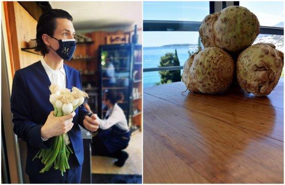 Damien Chalvet, maître d'hôtel, con un bouquet di cipollotti. Lo staff prepara la sala con le decorazioni a tema. A destra, del sedano rapa su uno dei tavoli del Mirazur.Anche le decorazioni della sala invitano gli ospiti a guardare verso il cielo