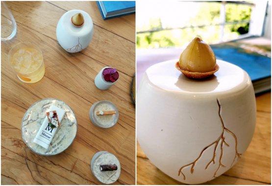 La nostra esperienza a pranzo al Mirazur. Qui gli appetizer, a destraUniverso radici. Onion tarte con formaggio comté