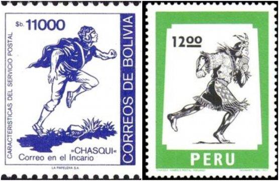 """Francobolli di Bolivia e Perù che effigiano i chasqui (""""colui che riceve"""" in lingua quechua): erano agili e ben allenati corridori che consegnavano messaggi, documenti reali ed altri oggetti, cibo compreso, all'epoca degli inca"""
