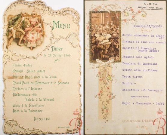 Due menu storici firmati Rosa Salva, il primo del 1900 e il secondo del 1914
