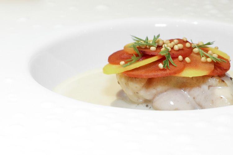 Animella di Podolica, senape e carote, poi salsa al beurre blanc e funghi porcini. Sempre alti livelli
