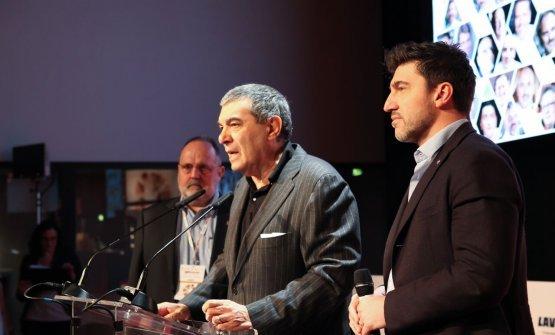 Almir Ambeskovic, ceo di TheFork, primo da destra, con Paolo Marchi e Claudio Ceroni