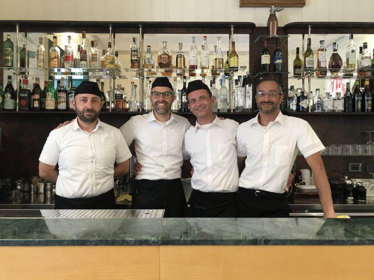 The smiles at Caffè Sicilia:Davide,Alessio,SaroandVincenzo