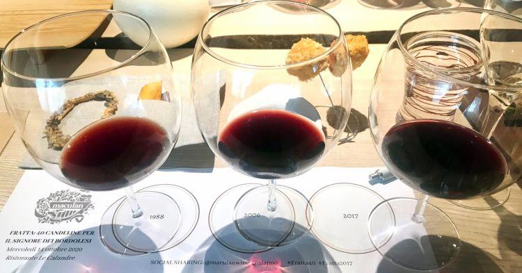 I tre vini in degustazione: 1988, 2006 e 2017