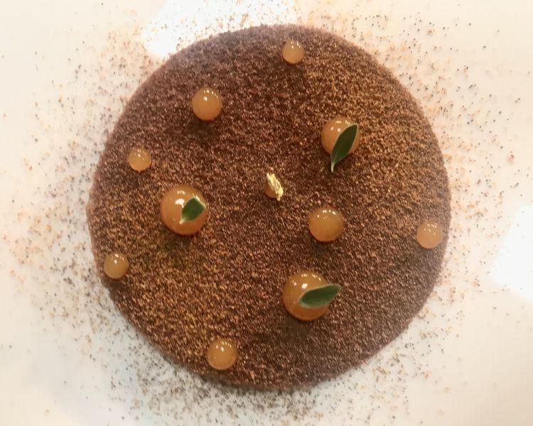Cioccolato con chantilly al pepe Jamaica, albicocca alla maggiorana e gelato allo zenzero: uno dei dessert proposti a conclusione del percorso dal pasticciere Nicola Di Lena