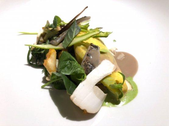 Frittata con squacquerone, alici, funghi ed erbe di stagione