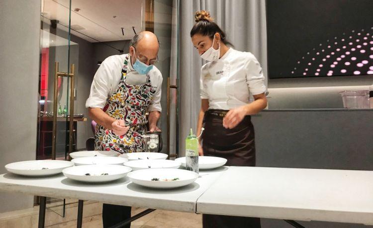 Cedroni con la pastry chef di Identità Golose Milano, Wilma Masha