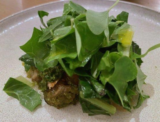 Lumache gratinate al verde, pesto di cipresso, cicoria e acetosa