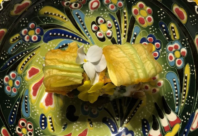 Chaatmillefeuilles (a specialty from Uttar Pradesh, usually made with a mix of potatoes, fried bread,mungo beansand spices, but there are many variations), courgette flower, pumpkin purée