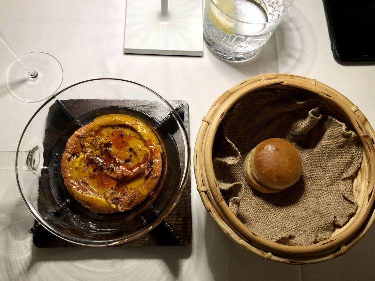Mousse of kebab (lamb), sour bun. Freely inspired by Massimo Bottura's La Parte Croccante della Lasagna
