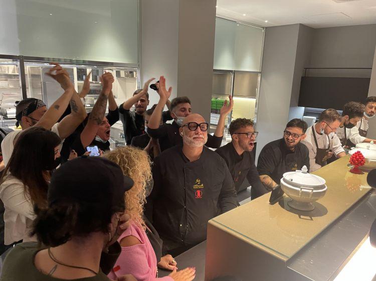 I festeggiamenti per la vittoria