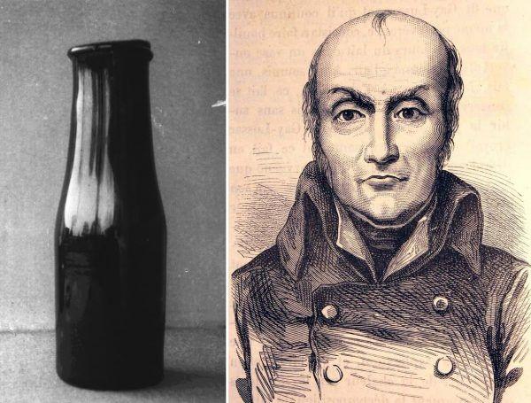 Nicolas Appert e un suo vasetto di vetro contenente alimenti (1810)