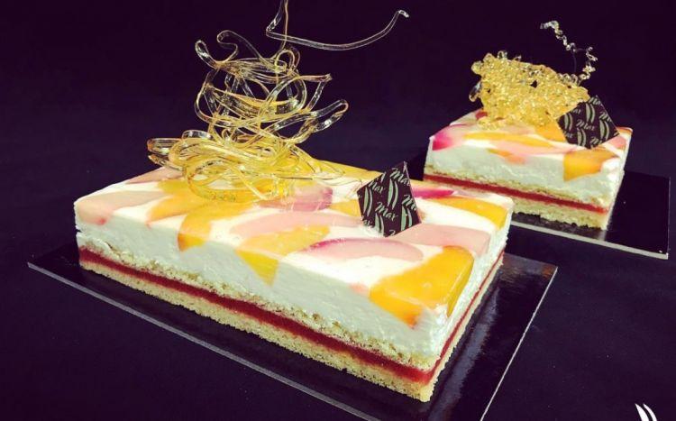 La torta Palladiana, ispirata alla tipica pavimentazione che accosta tagli diversi di pietra, senza rigore geometrico