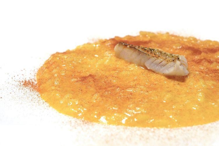 Un classico, eccellente: Riso, triglia, 'nduja, curcuma, arancia