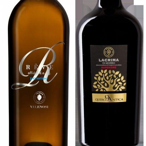 Due vini della cantinaVelenosi:RêveOffida Pecorino Docg e e Lacrima di Morro Superiore