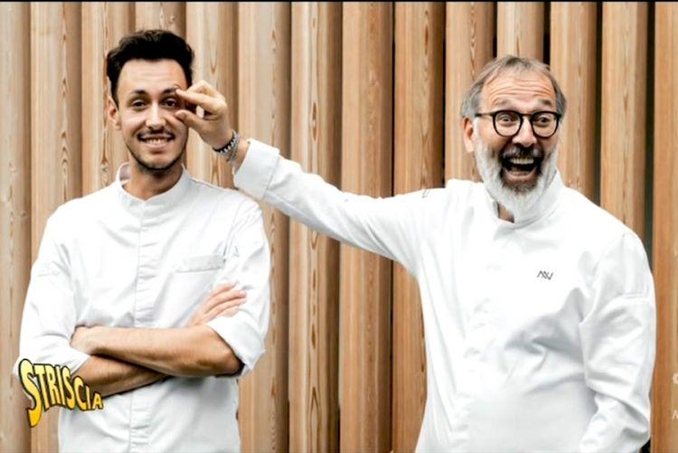 Norbert Niederkofler in due simpatici momenti con il suo sous-chef Michele Lazzarini
