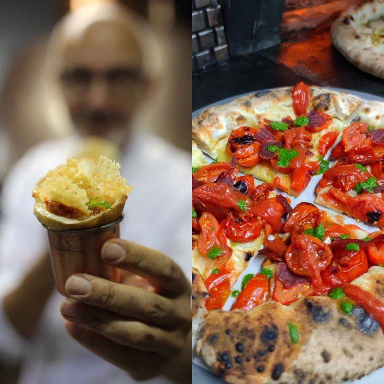 I due assaggi di Franco Pepe: Conetto fritto e Pizza Pomo d'Oro