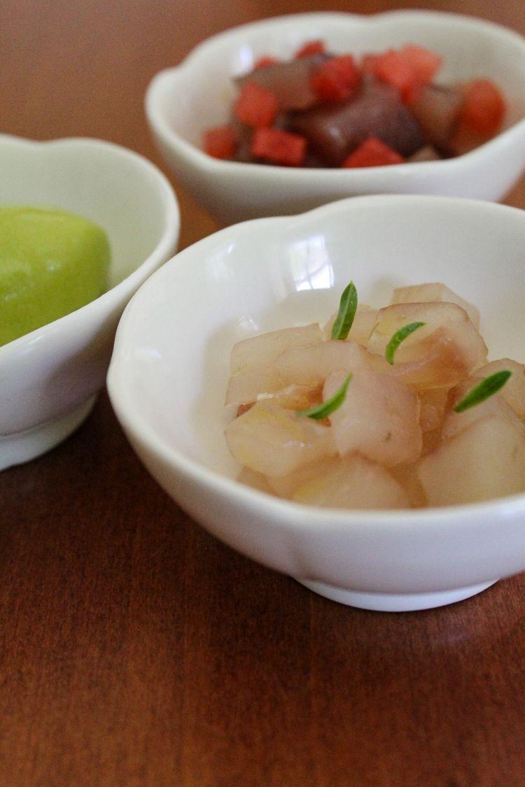 Alalunga e anguria in versione tartare, gelato al basilico e limone