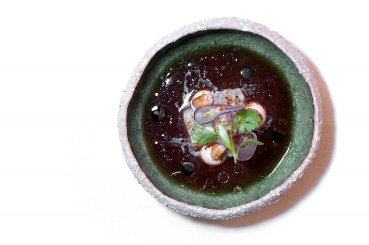 Ceviche di dentice marinato, mais atzeco croccante, maionese aromatica, salsa ponzu con semi di pomodoro. Il giro del mondo in un piatto: molto buono, manca forse giusto un po' di pulizia al palato
