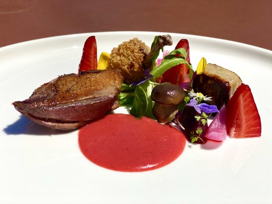 Piccione, fragole, rabarbaro e fiori di sambuco
