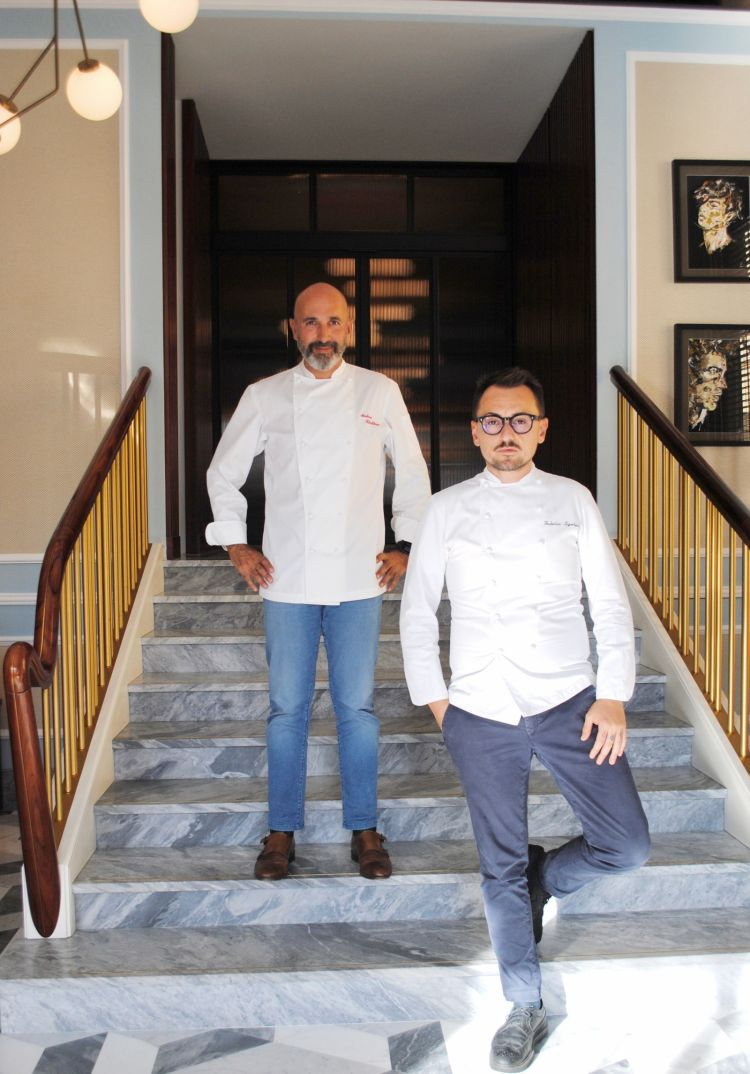 Andrea Ribaldone assieme allo chef Federico Sgorbini