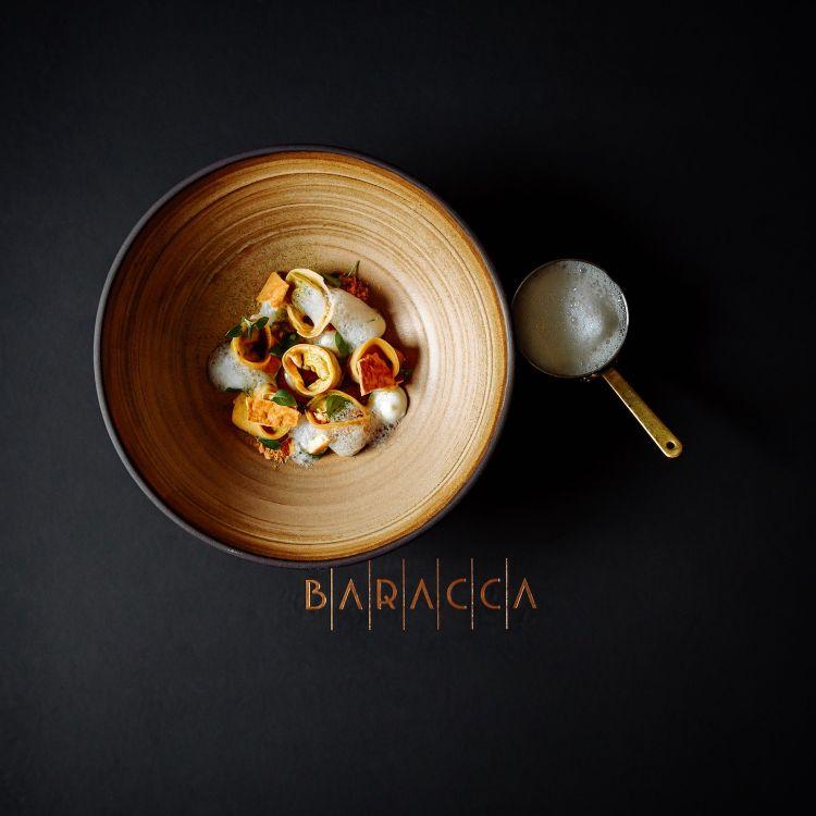 Parmigiano Reggiano 40 mesi, tortellini e shiitake, del ristorante Baracca in Romania