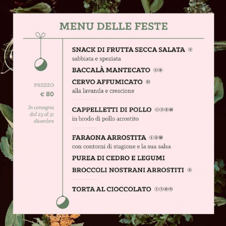 Il menu degustazione per i giorni di festa, disponibile dal 23 al31 dicembre