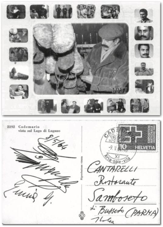 Una cartolina spedita al Cantarellida Giovannino Guareschi