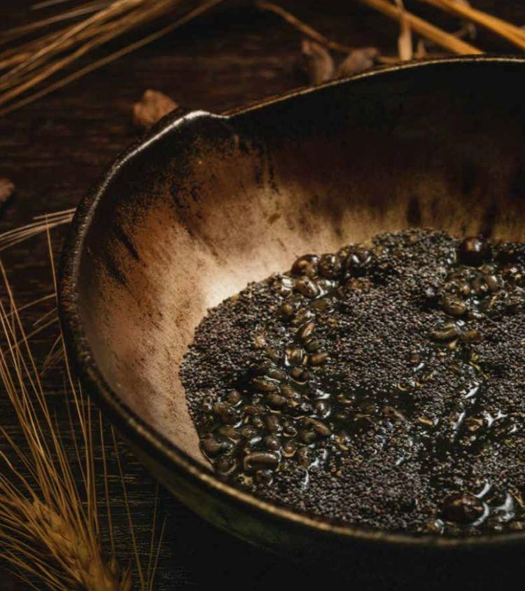 Due piatti della citrinitas: Ptisana d'orzo, semi di papavero e cardamomum...