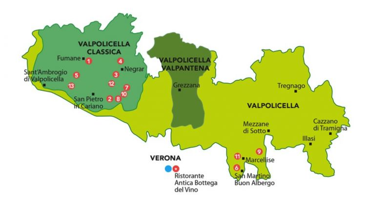 La cartina della Valpolicella e le ubicazioni delle 13 aziende: 1Allegrini, 2 Begali, 3 Brigaldara, 4 Guerrieri Rizzardi, 5 Masi, 6 Musella, 7 Speri, 8 Tedeschi, 9 Tenuta Sant'Antonio, 10 Tommasi, 11 Torre d'Orti, 12 Venturini, 13 Zenato