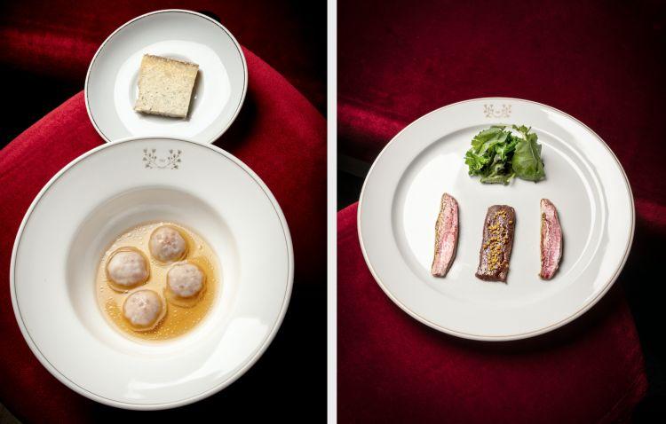 A sinistra,Ravioli di nespola, uova di trota affumicate, brodo di melanzana e formaggio Murianengo. A destra,Fegato di manzo e triglia arrosto con insalata ghiaccio,aglio, olio e peperoncino, cavolo riccio