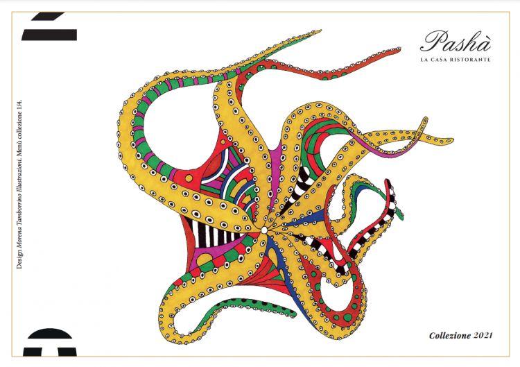 La bellissima copertina - da collezione - del menu del Pashà. È disegnata da Morena Tamborrino
