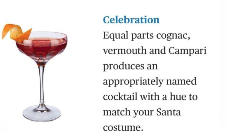 L'inserimento del drinkCelebrationnella Difford Guide's To Cocktail, segnalato tra i migliori cocktails al mondo da servire a Natale. Ingredienti: pari dosi di Vermouth, Cognac e Campari