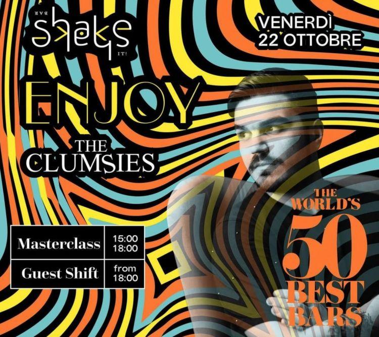 Shake ospiterà nel suo spazio i grandi protagonisti della mixology: appuntamento il 22 Ottobre con The Clumsies diAtene, al terzo posto della classificaThe World's 50 Best Bars