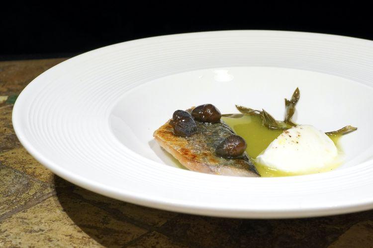 Sgombro confit, zuppa di olive verdi, bufala e capperi canditi