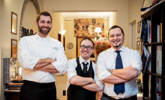 I tre soci della trattoriaAi Due Platani: da sinistra lo chefGianpietro Stancari, il responsabile di salaMattia Serventie il patron e responsabile della cantinaGiancarlo Tavani(foto di Lorenzo Moreni)