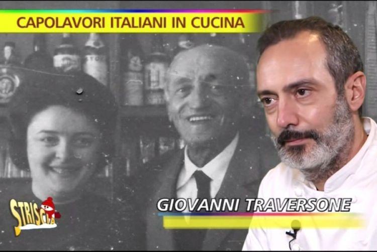 Doppio fermo immagine per Giovanni Traversone: sullo sfondo sopra, i due nonni arrivati a MIlano da Genova per vendere carbone e ghiaccio; sotto, lui e i ravioli di cotechino