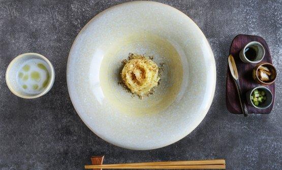 Spaghetti cacio e pepe alla tsukemen con brodo di anguilla in saor,Takeshi Iwai