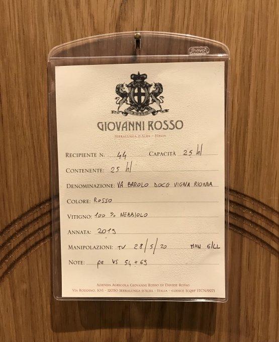Il Barolo D.O.C.G. Vigna Rionda del 2019 in botte