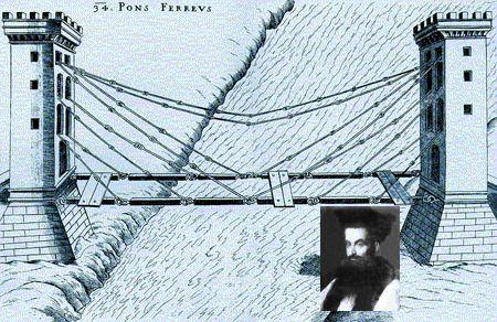 Fausto Veranzio, nel riquadro, e una delle sue invenzioni più celebri, il ponte sospeso