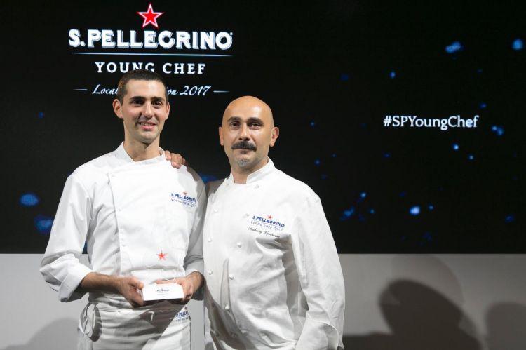 Emanuele Fumagalli, di Locanda Margon, a Ravina, Trento con il mentore Anthony Genovese del ristorante Il Pagliaccio, Roma