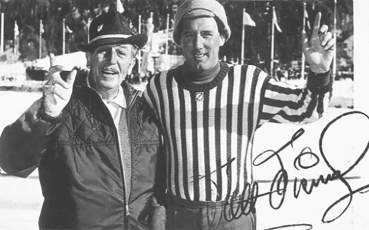 Rolly Marchi con Walt Disney in America a metà degli anni Cinquanta. Da questo incontro nacque l'idea del Trofeo Topolino di sci e più in generale dello sport agonistico per ragazzi e ragazze under 15