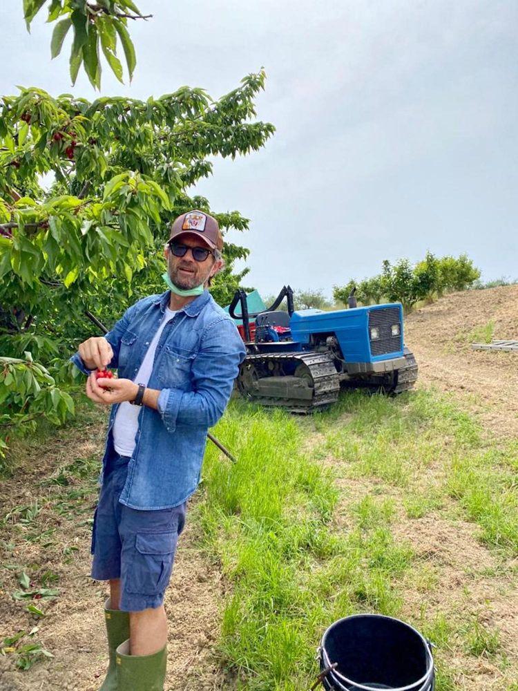 Carlo Cracco e la raccolta delle ciliegie alla tenuta Vistamare