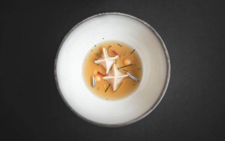 A very new dish from Marcelli, which we haven't tasted: Duck tea with dim sum with its entrails, gel of dashi with potato puccia (puccia is the classic loaf from South Tyrol, made with rye and wheat, aromatised with anis seeds). On the side, Praline of braised duck leg with spicy mayonnaise