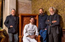 Philippe Starck, Raffaele Alajmo, Massimiliano Alajmoe Marino Folin all'inaugurazione del nuovoCaffè Quadriin piazza San Marco, a Venezia