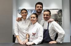 Foto di gruppo per giovani stelle: da sinistra Lucia De Prai, Karime Lopez, Alberto Gipponi, Gianluca Gorini (tutti gli scatti sono di Brambilla - Serrani)